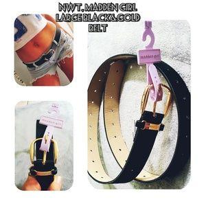 NWT, Steve Madden  Black&gold belt